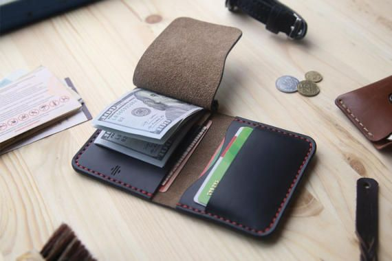 Personalized money clip wallet, money clip card holder, Black Horween Chromexcel