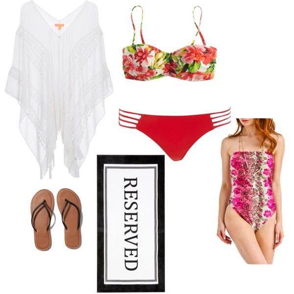 Beach outfit by nshkoukani on Polyvore featuring polyvore, moda, style, J.Crew, Viva, Lipsy, Pacha, Abercrombie & Fitch and Pottery Barn