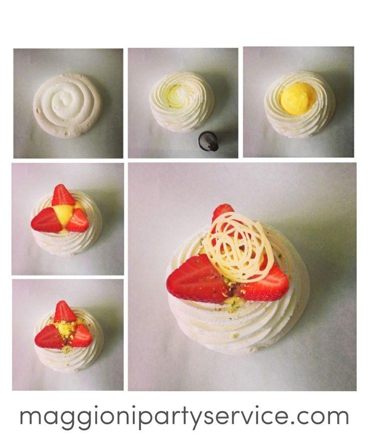 Pavlova with strawberries, lemon cream and pistaches