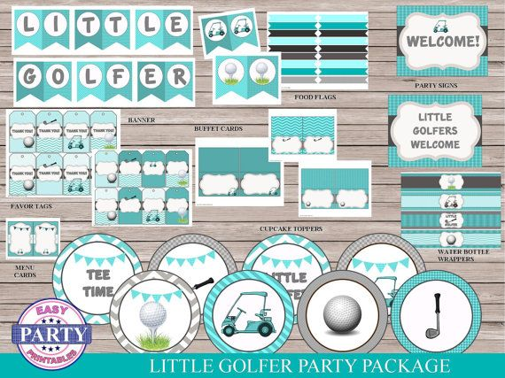 Golf Party Package Instant Download teal by EasyPartyPrintables,