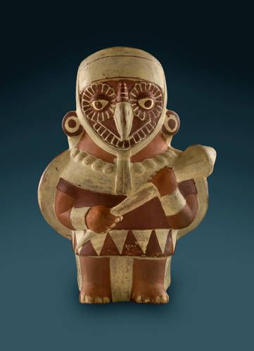 This ceramic vessel of a supernatural owl warrior illustrates how the Moche people of northern Peru associated warriors and predators, likening warfare to hunting prey. These vessels frequently featured beings with characteristics of both people, plants and animals. Ancient America at the Field Museum, Chicago