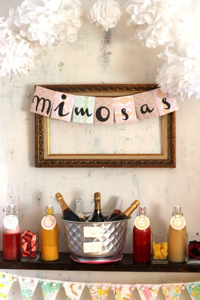 Mimosa Bar!!!  - A How To Step-by-Step Guide, complete with every thing you'll need to make your own Mimosa Bar (even a shopping list).  Who doesn't love a good Mimosa!?
