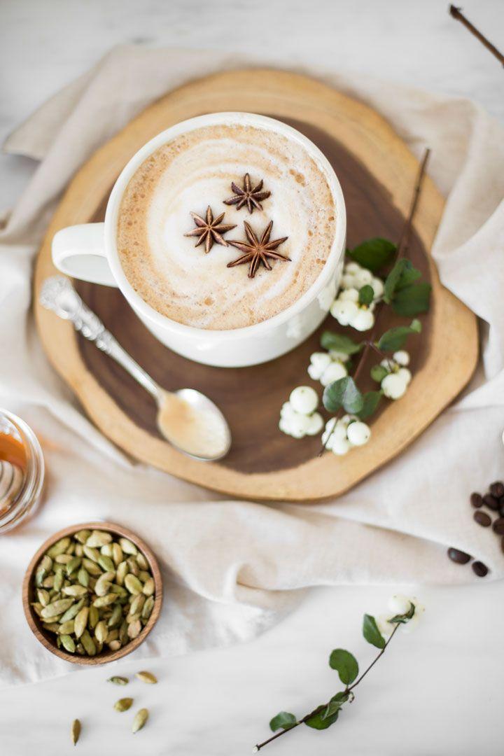 Honey Cardamom Latte with star anise. Use cashew milk.