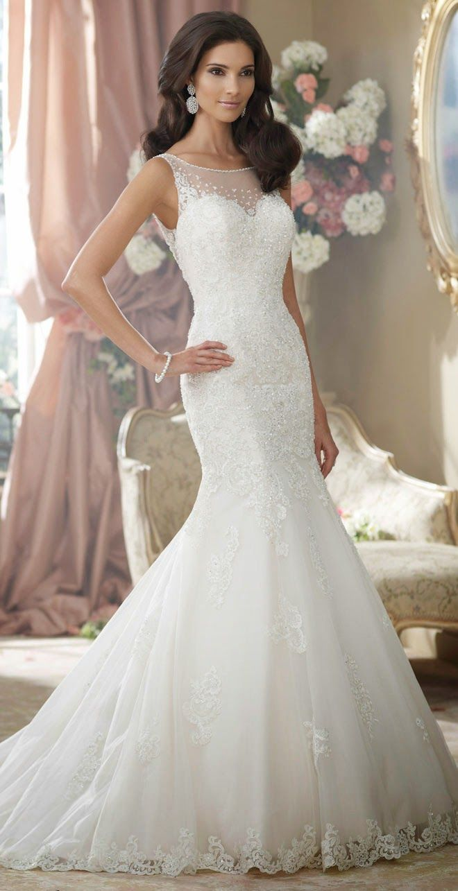 fall 2014 wedding dresses. aly 214207 by david tutera mon cheri fall 2014 is an elegant beaded lace on tulle over taffeta mermaid gown with illusion boat neckline wedding dresses g