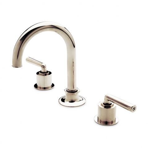 Henry Gooseneck Three Hole Deck Mounted Lavatory Faucet with Metal Lever Handles — Products | Waterworks
