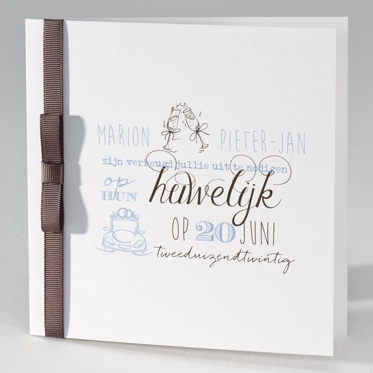 Vierkante blanco kaart met bruin luxelint met strik