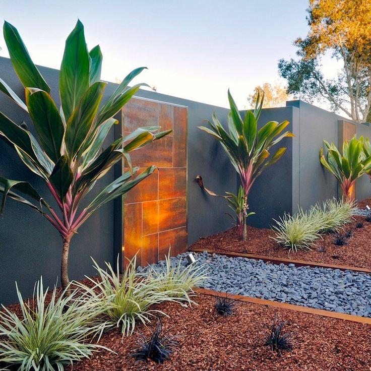 d coration mur ext rieur en acier corten jardin moderne avec graviers et plantes vertes. Black Bedroom Furniture Sets. Home Design Ideas