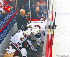 May 23rd, 2013 Brent Seabrook comforts Jonathan Toews after his third penalty in game 4 against Detroit. Classy move by Seabs but honestly what is wrong with Toews!?!