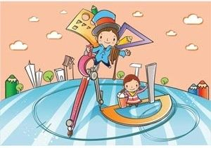 a school boy making a sketch with pencil and compass a cute baby guiding them vector children illustration