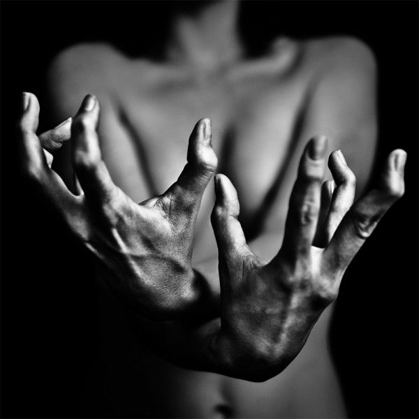 Dramatic black and white hands