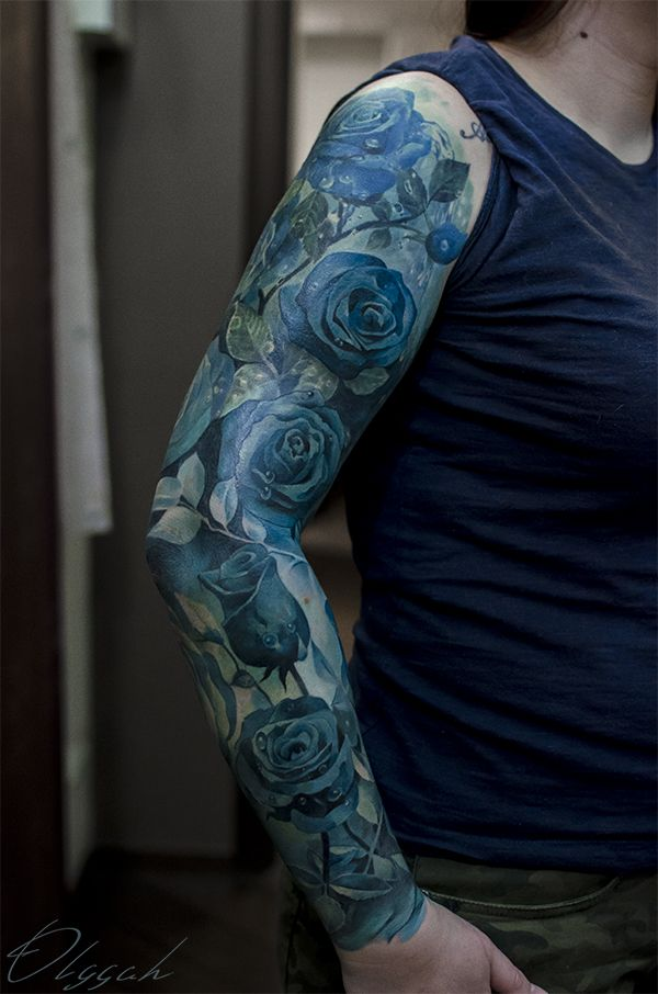 Blue roses sleeve by Olggah.deviantart.com on @DeviantArt