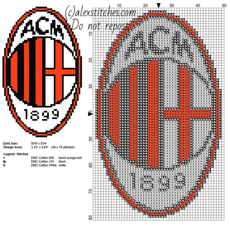 A.C. Milan soccer team logo badge free cross stitch pattern 48 x 79 stitches 3 DMC threads