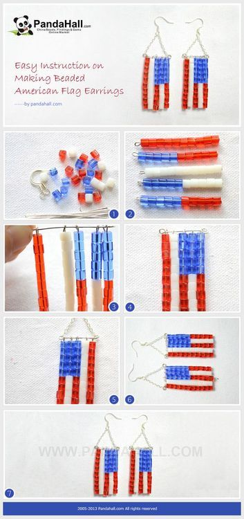 Jewelry Making Tutorial-Making Beaded American Flag Earrings | PandaHall Beads Jewelry Blog