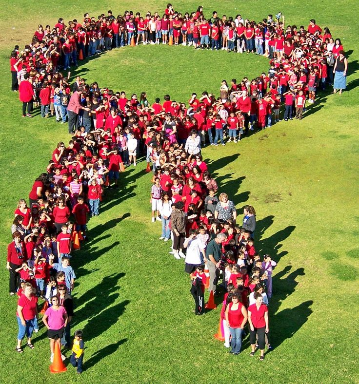 Form a student red ribbon and ask a local news station to photograph from a helicopter for team building, press and fun!