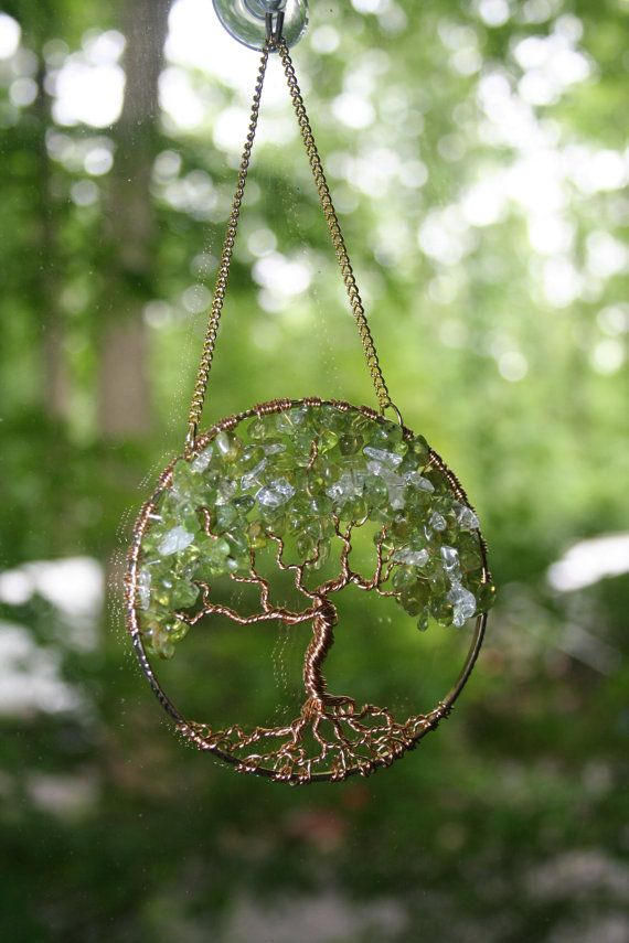 Suncatcher Tree Of Life Peridot Gemstone On Antique