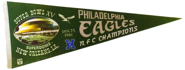 Featured is a Philadelphia Eagles vintage pennant. This pennant is an original pennant from 1981 when the Eagles played the Raiders in the Super Bowl. This pennant is approximately 11x29.