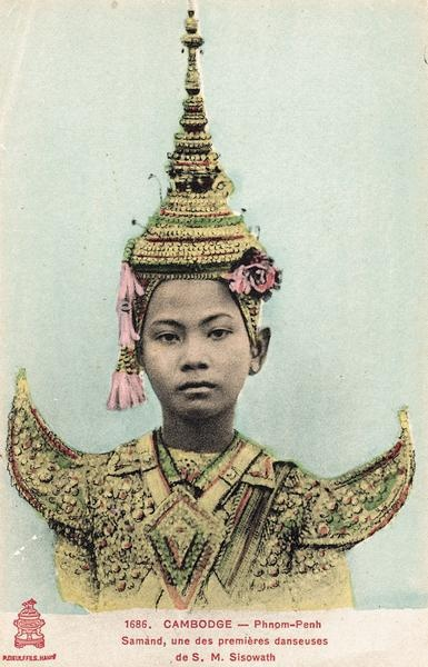 """Phnom Penh, Samand, one of the royal dancers - """"Picture Postcards of Cambodia 1900-1950"""" by Joel G. Montague."""