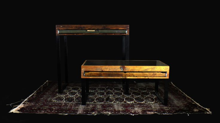 Printer's Tray Display Coffee and Console Tables on a vintage Persian Carpet.