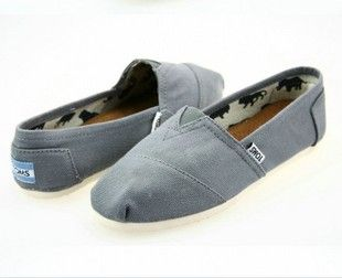 Light Gray Toms Canvas Flat Shoes
