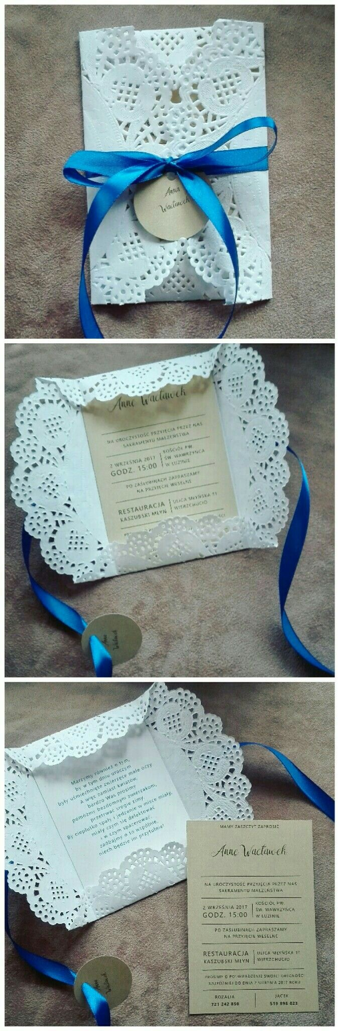 Wedding invitations lace napkin gold paper navy blue envelope diy handmade