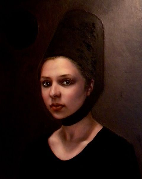 Louise Greig - Portrait of a Young Girl and a Black Hole - oil on linen (2013)