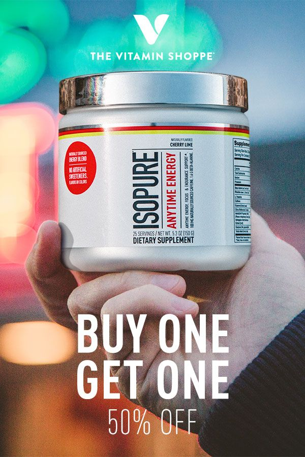 Energy, focus & endurance for anytime use! Naturally sourced energy blend with no artificial sweeteners, flavors or colors. Isopure® Anytime Energy is buy one get one 50% off exclusively at The Vitamin Shoppe®. Go pick up an Alpine Punch or Cherry Lime today! Offer valid through 2/25/18.