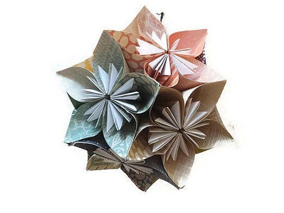 "Large Origami Kusudama in ""Screenprint"" Color Scheme- Kids Room Decoration, Trendy Teens Room Decor, Hanging Paper Origami Ball"
