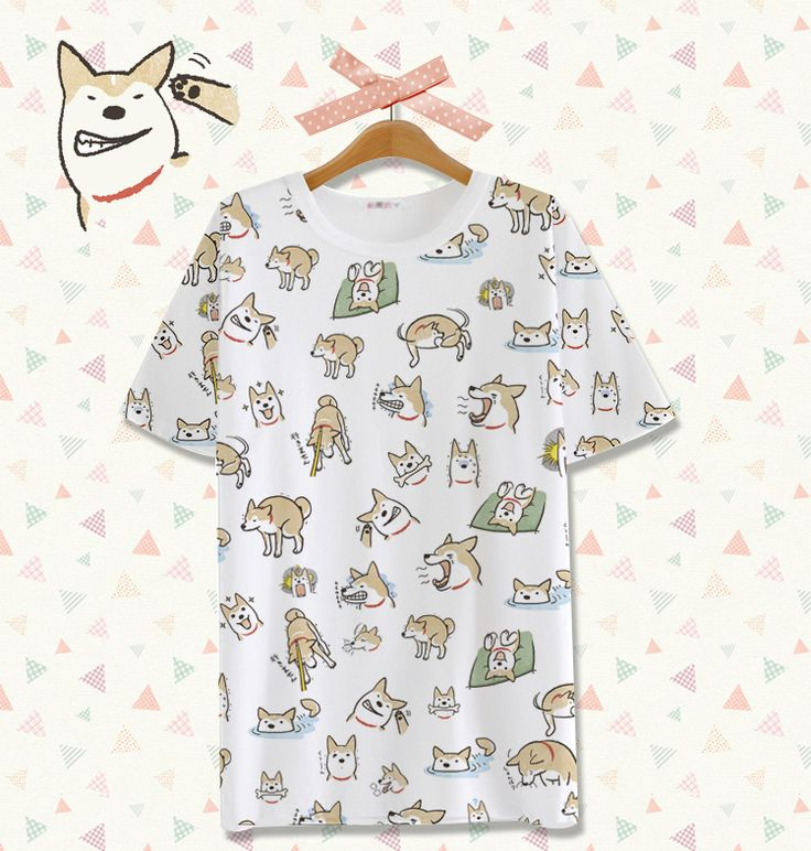 Spot! Man Shiba doge house animation around Meng cute cartoon milk silk short-sleeved T-shirt - Taobao global Station