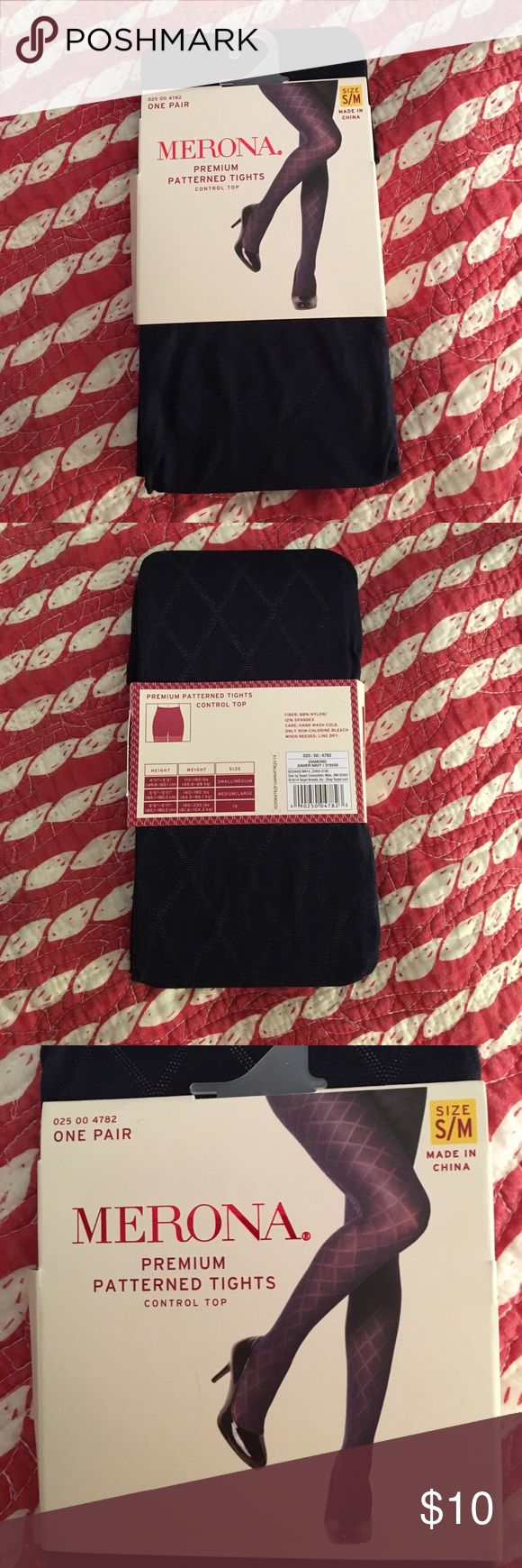 Navy Tights Navy patterned tights. Size s/m. Never worn Merona Accessories Hosiery & Socks