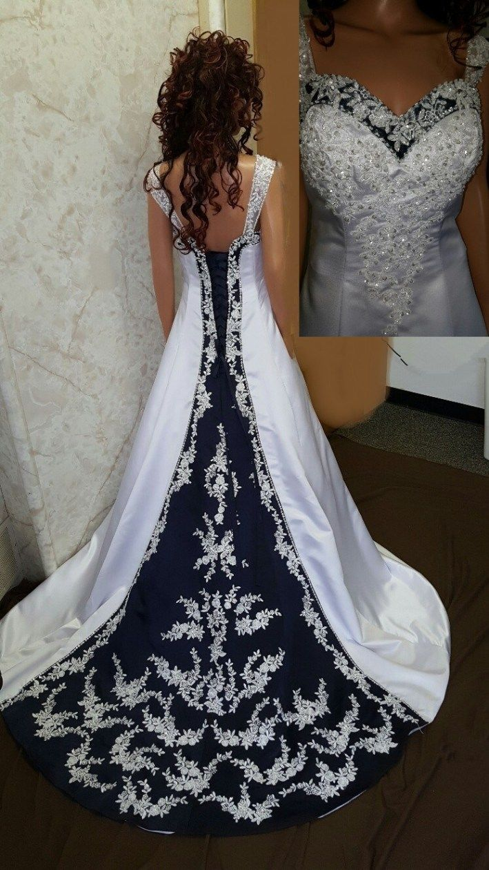 Navy Blue And White Wedding Gown Available In Other Shades Of Blue Navy Blue Wedding Dress Silver Wedding Dress Blue Wedding Dresses [ 1260 x 709 Pixel ]