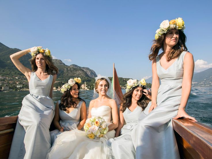The beautiful bride and her maids - floral headpieces and a ride by Venetian taxi boat to Villa Balbianello
