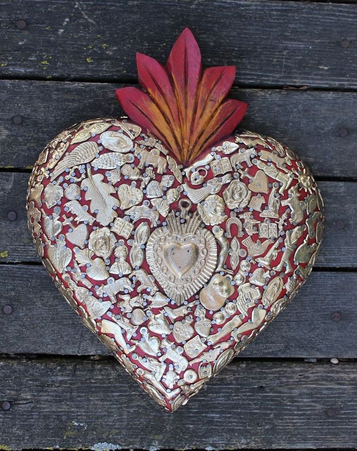 Large Red Wood Heart Gold Milagros Miracle Ex Voto Folk Art Michoacán Mexico