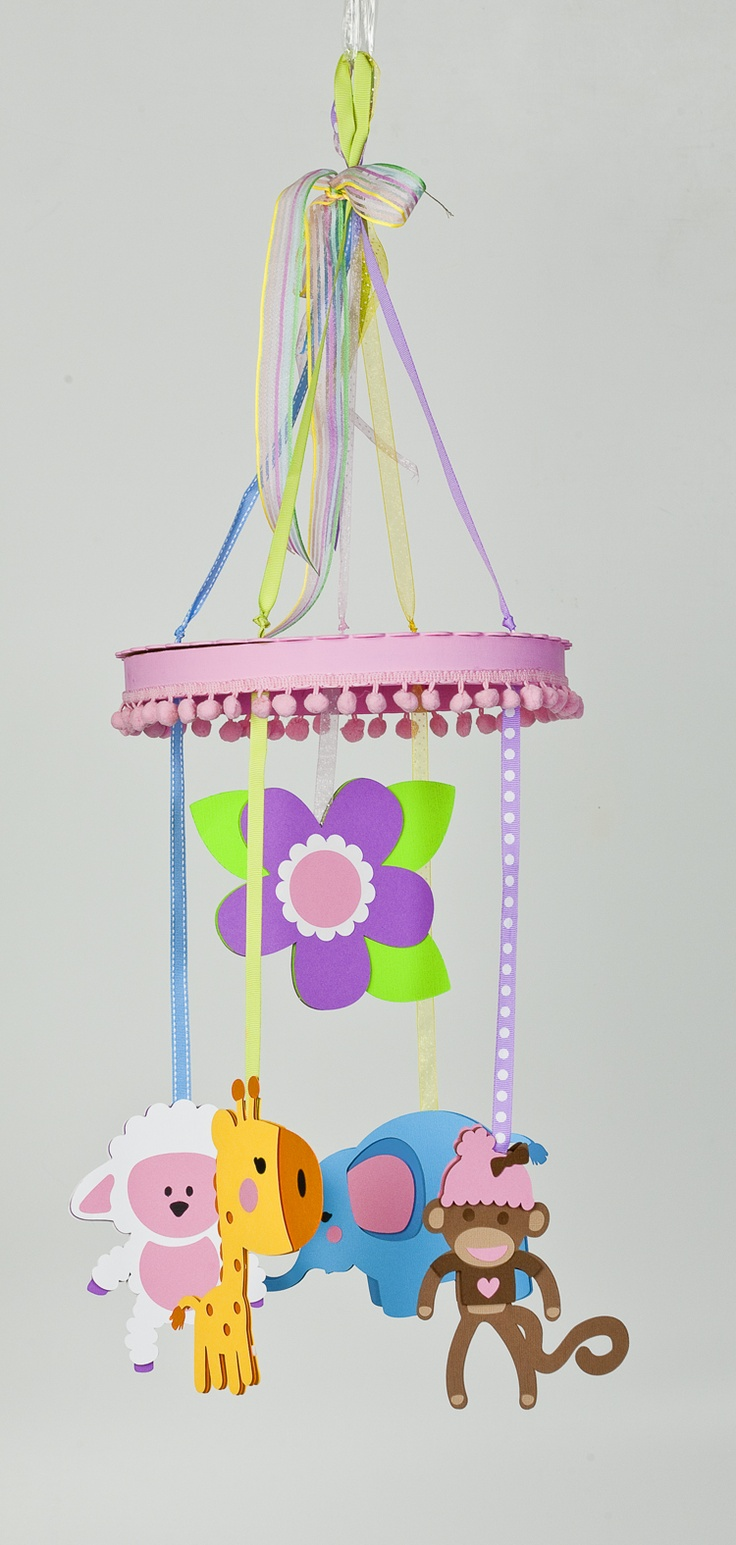 Whimsical Mobile made with Sugar and Spice, Plantin SchoolBook, and Accent Essentials cartridges! #cricut