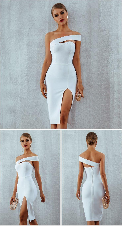 Women's Bodycon Bandage Dress Elegant White Black One Shoulder Midi Dresses