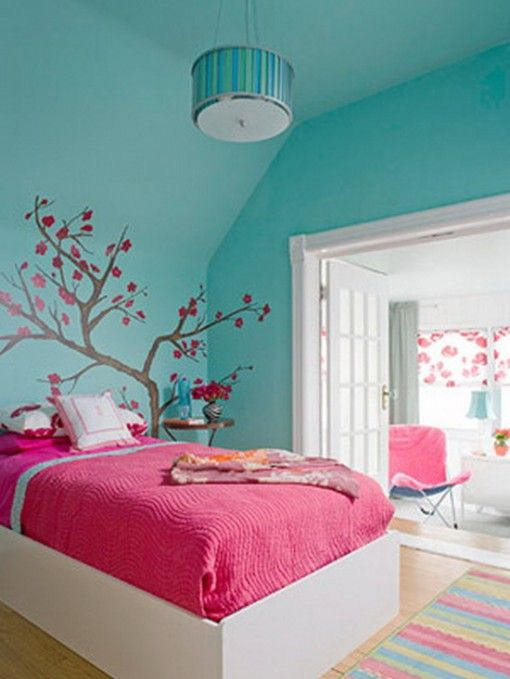 pink and blue girl's bedroom - could easily start as a fairy room by accessorizing appropriately, but also transitions into older girl's bedroom