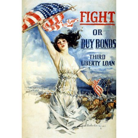 WWI Fight Or Buy Bonds Third Liberty Loan Howard Chandler Christy 1917 Canvas Art - (18 x 24)