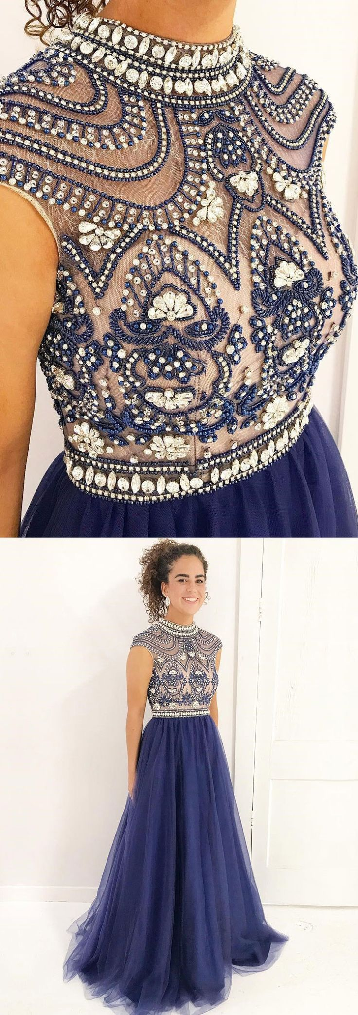 Shine Beaded Prom Dresses with High Neck,Crystal Long Pageant Dresses,Long formal Party Dresses,#prom #sheergirl