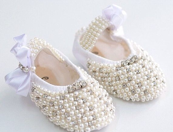 White Peral Ballet Shoes, Swarovski Crystal Baby Shoes,Baby Wedding Shoes,  Baby,