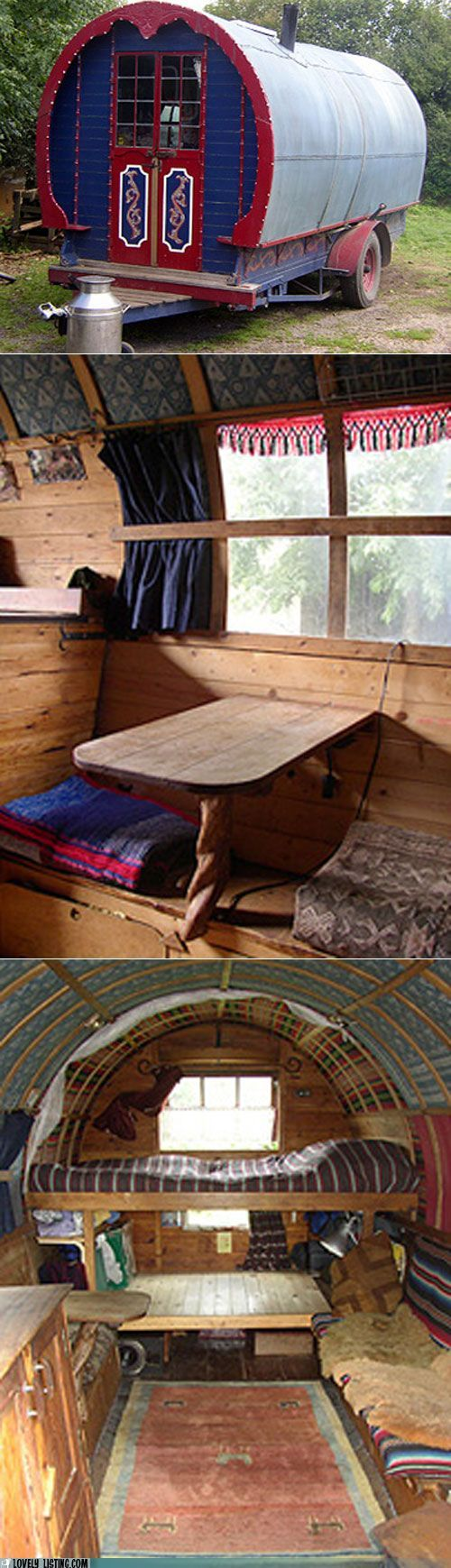 Ohhhh please pleaseplease someone find this for me!! Going on my dream house and wishlist!! Rustic Gypsy Wagon Tiny House