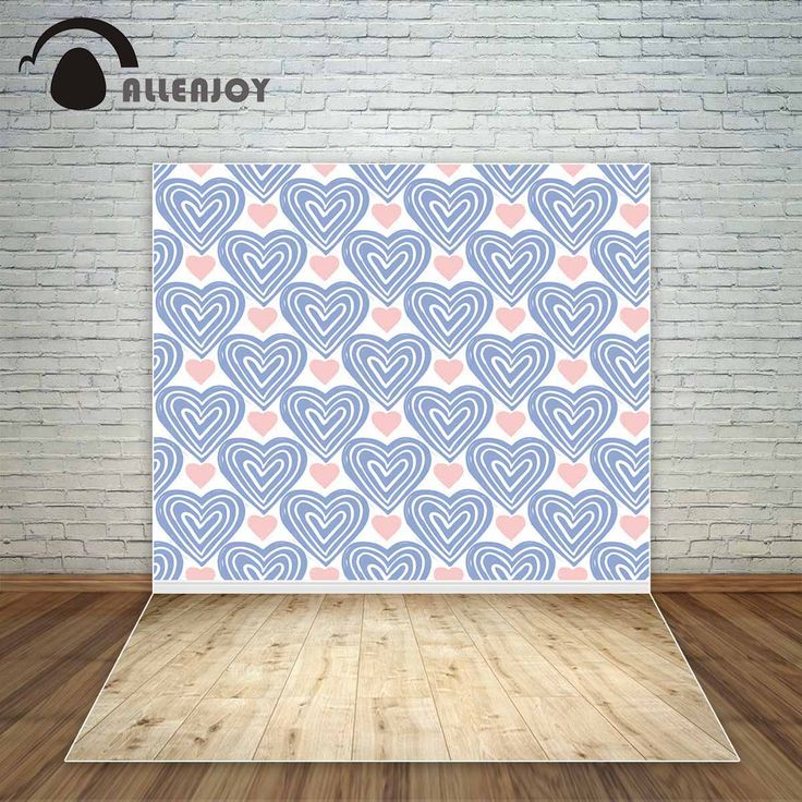 Allenjoy blue and pink hearts lovely backdrop for children wooden floor fund fond studio photo background cloths vinyl