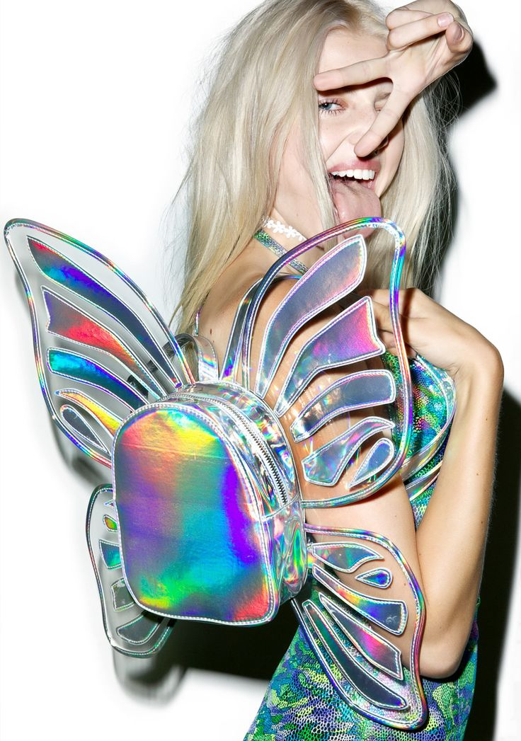 Shimmery Holographic Mini Butterfly Backpack