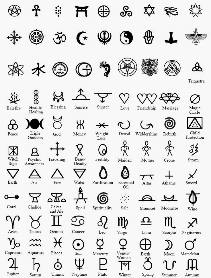 Wiccan and Pagan symbols                                                                                                                                                                                 More