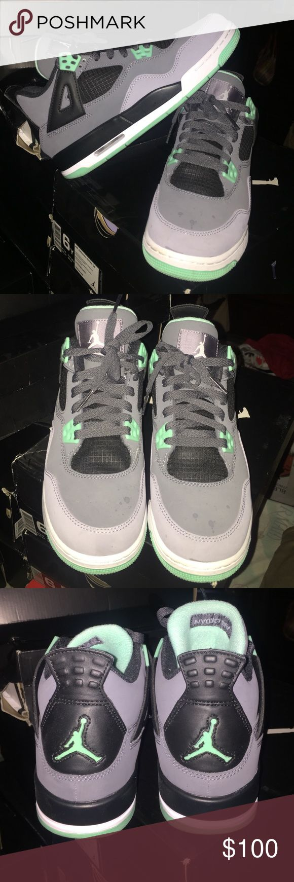 Jordan Green Glow Barely used only small flaw is in the front see second pic but nothing mayor. Size 6YOUTH NO TRADE please be mindful about Posh fee 20% Shoes Sneakers