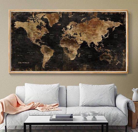 World Map Wall Art Vintage World Map Poster Wall World Map