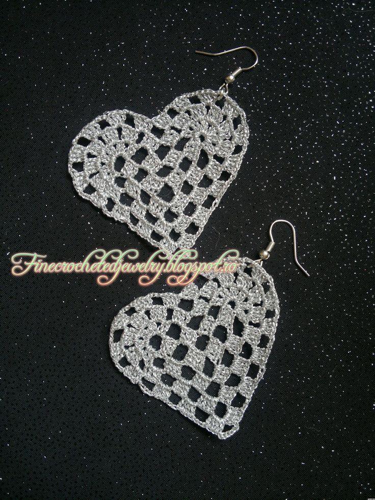 Crochet heart lace earrings  www.finecrochetedjewelry.blogspot.ro