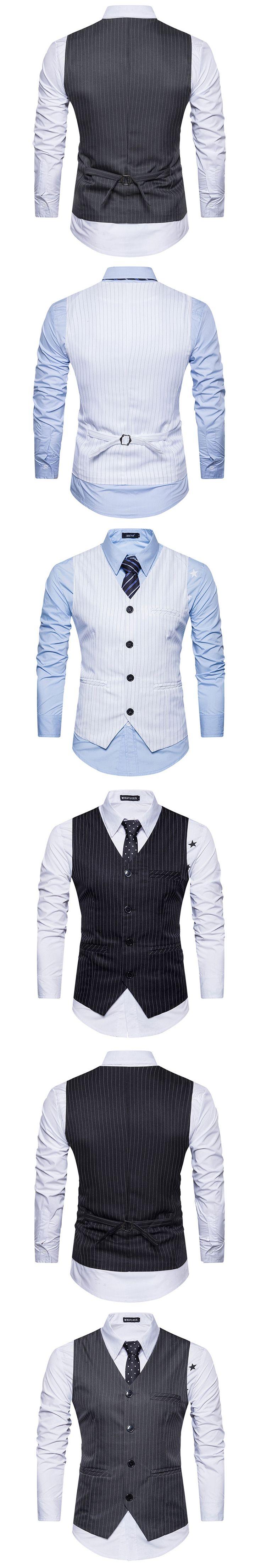 2017 Men's Formal Business Casual Dress Vest Suit Slim Fit Tuxedo Waistcoat Coat Gilet Jacket Outwear Tops Meeting Stripe Black