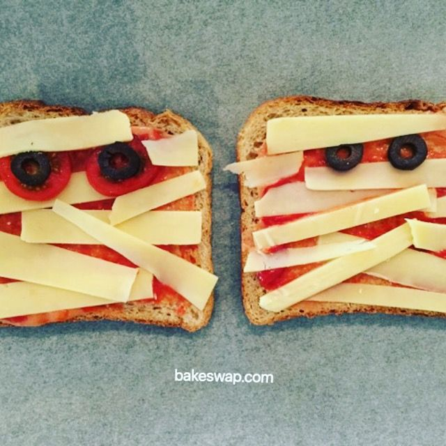 For a scary start to your day try Monster Toast for breakfast this Halloween.  Cover a slice of wholemeal bread with our Hidden Veggie Sauce then criss cross with strips of sliced cheese adding sliced olives or tomatoes for eyes.  Pop under a hot grill to melt. For more Halloween recipes go to bakeswap.com   We'd love to see your creations so share your pic with the hashtag #spookybakeswapping and don't forget to tag us @bakeswap  #bakeswap  #anyonecanbakeswap