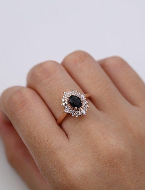 Vintage Verlobungsring Oval geschnittenen schwarzen Onyx Verlobungsring Rotgold Halo Diamant Hochzeit Schmuck Versprechen Jubiläumsgeschenk für Frauen