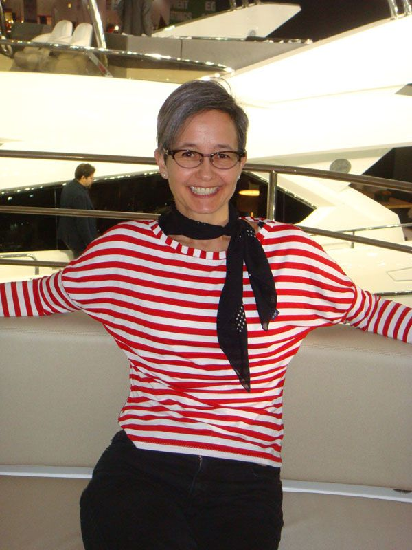 Dolores top and dress- batwing perfection! - Scruffy Badger Time in nautical stripy long sleeved Dolores batwing top