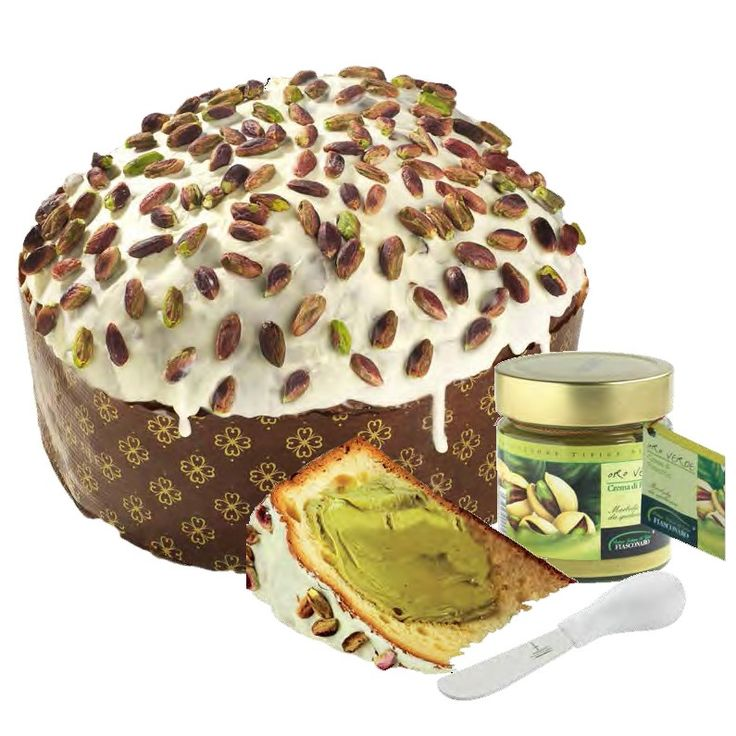 """Oro Verde """"Fiasconaro""""!  Traditional cake with Pistachio Cream to spread, topped with icing and Pistachio nuts.  https://store.sicilianflavors.com/sweets/cookies/oro-verde-fiasconaro-1-kg.html"""